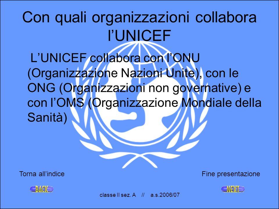 Con quali organizzazioni collabora l'UNICEF