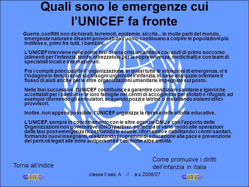 Quali sono le emergenze cui l'UNICEF fa fronte