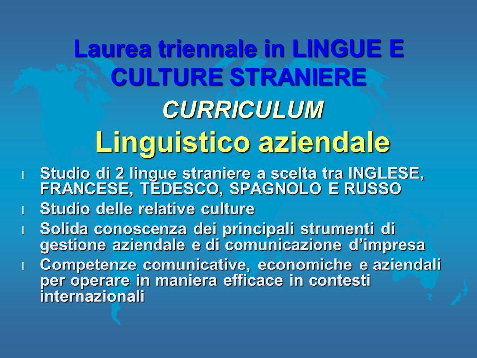 Laurea triennale in LINGUE E CULTURE STRANIERE