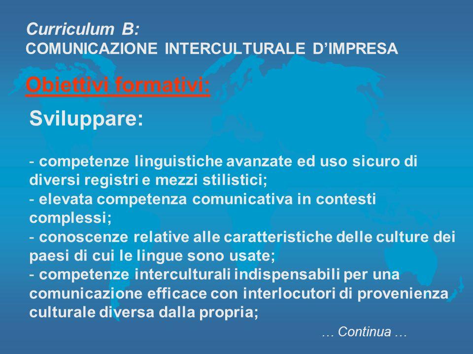 Curriculum B: COMUNICAZIONE INTERCULTURALE D'IMPRESA