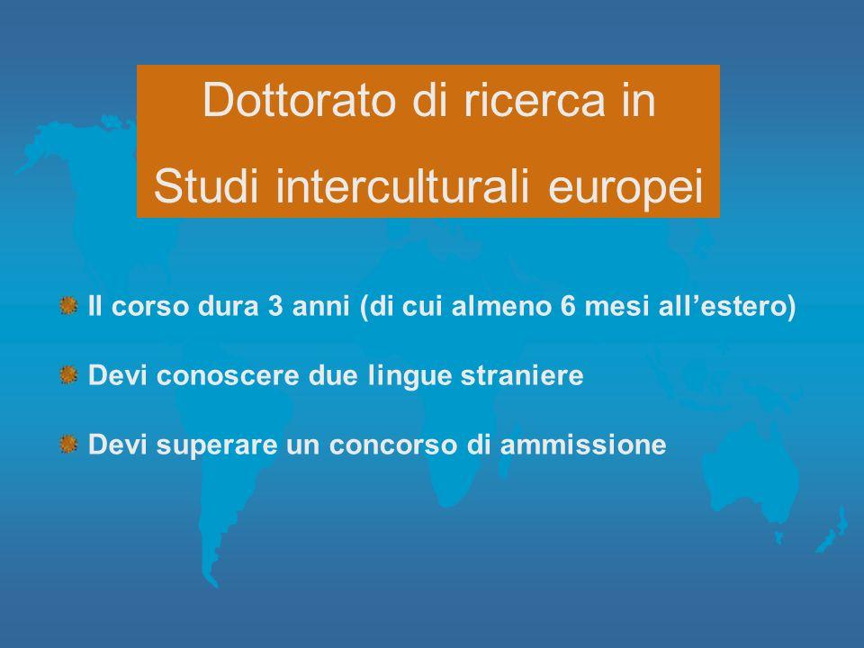 Dottorato di ricerca in Studi interculturali europei