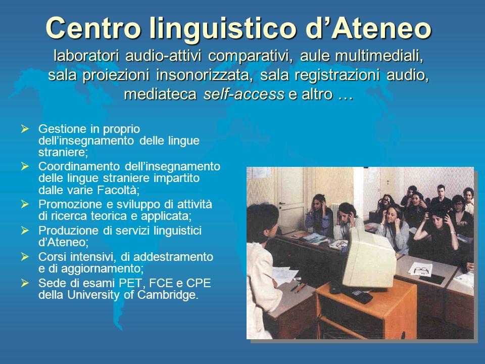 Centro linguistico d'Ateneo laboratori audio-attivi comparativi, aule multimediali, sala proiezioni insonorizzata, sala registrazioni audio, mediateca self-access e altro …