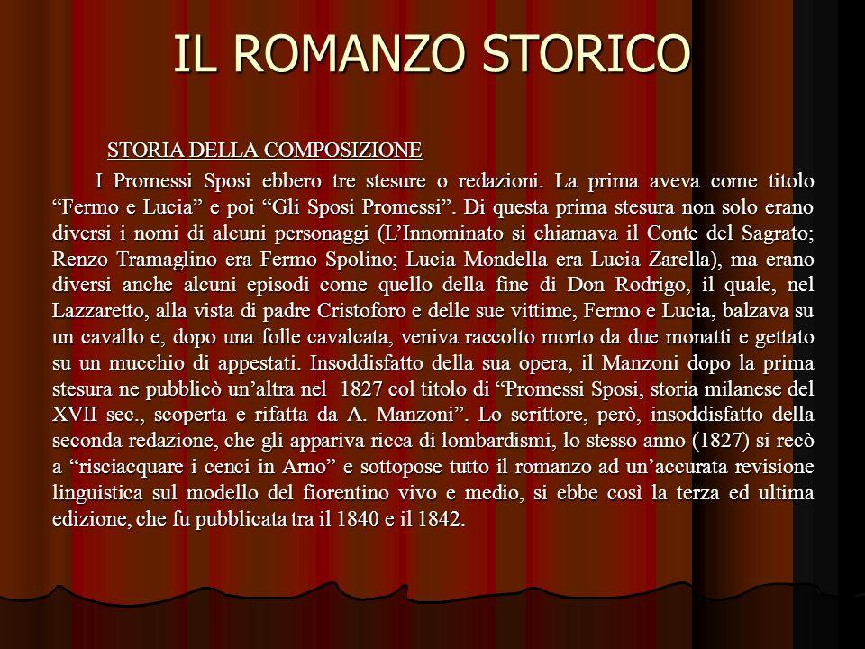 IL ROMANZO STORICO STORIA DELLA COMPOSIZIONE.