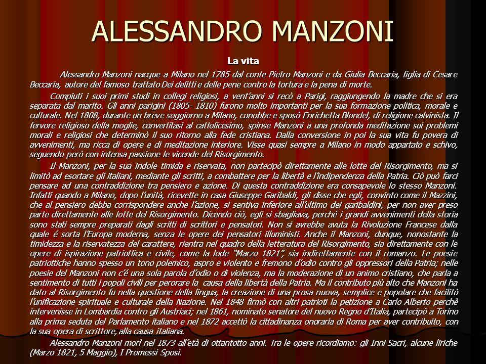 ALESSANDRO MANZONI La vita
