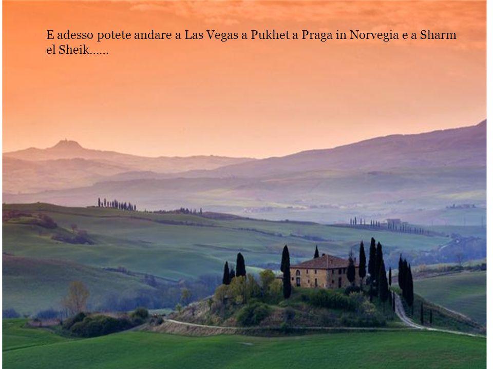 E adesso potete andare a Las Vegas a Pukhet a Praga in Norvegia e a Sharm el Sheik……