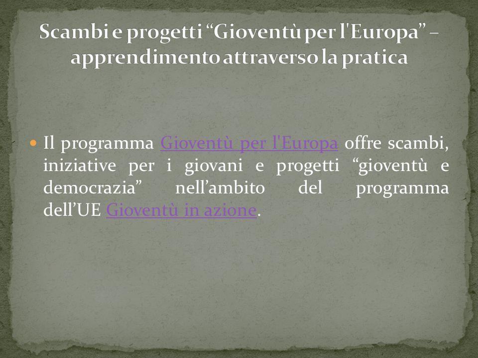 Scambi e progetti Gioventù per l Europa – apprendimento attraverso la pratica