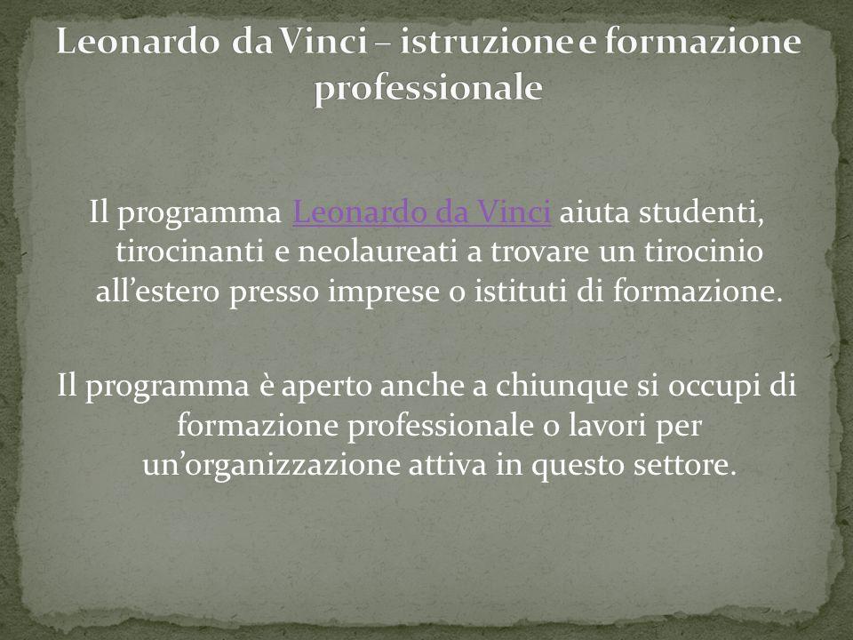 Leonardo da Vinci – istruzione e formazione professionale