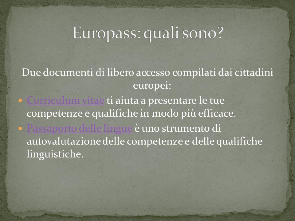 Due documenti di libero accesso compilati dai cittadini europei: