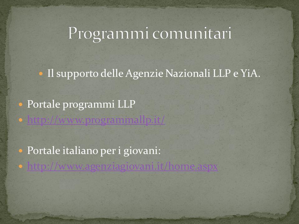 Il supporto delle Agenzie Nazionali LLP e YiA.