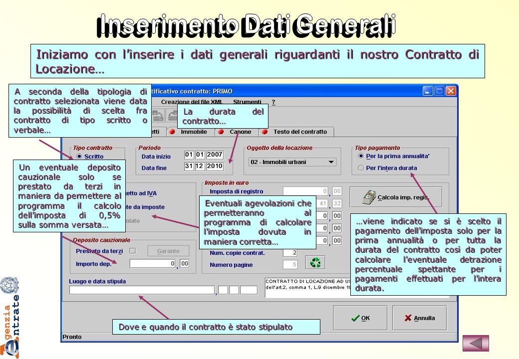 Inserimento Dati Generali