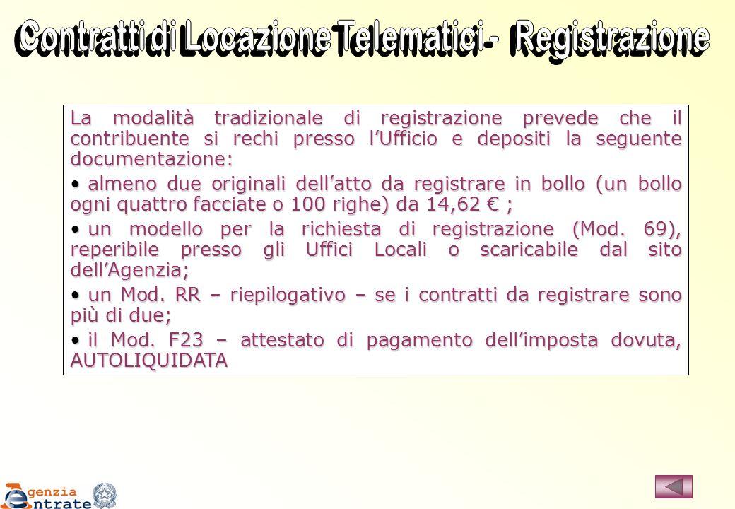 Contratti di Locazione Telematici - Registrazione