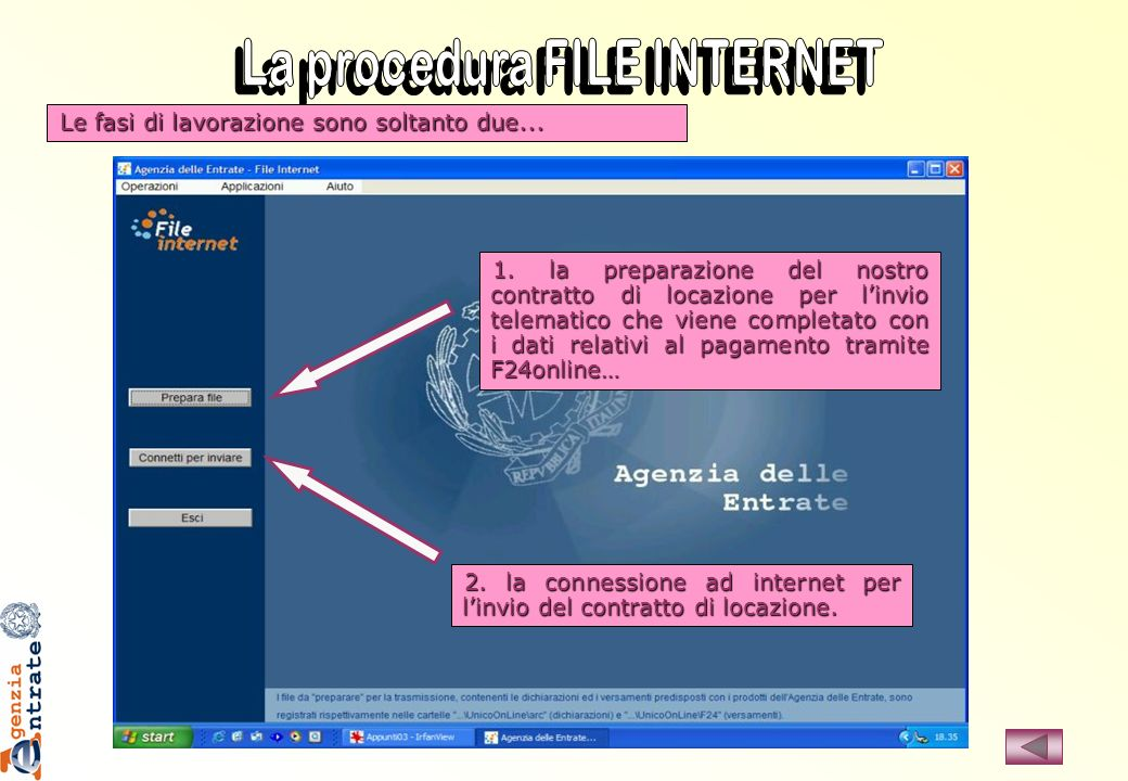 La procedura FILE INTERNET