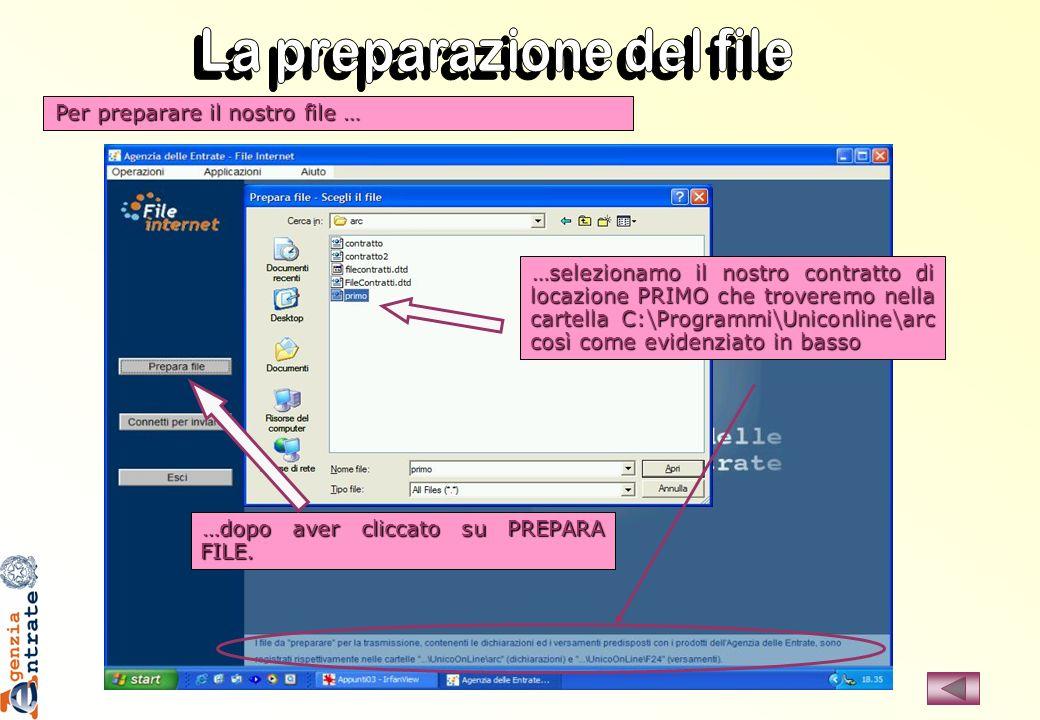 La preparazione del file