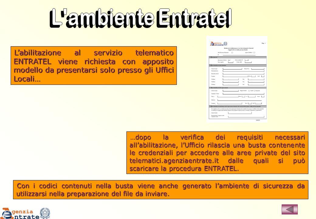 L ambiente Entratel L'abilitazione al servizio telematico ENTRATEL viene richiesta con apposito modello da presentarsi solo presso gli Uffici Locali…