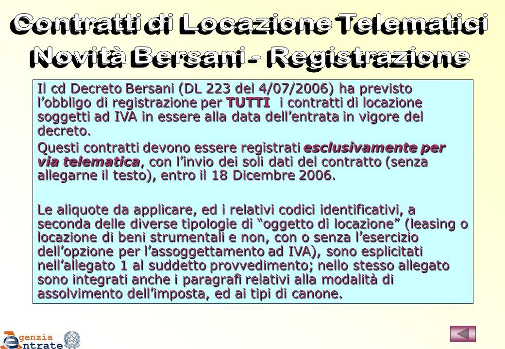 Contratti di Locazione Telematici Novità Bersani - Registrazione
