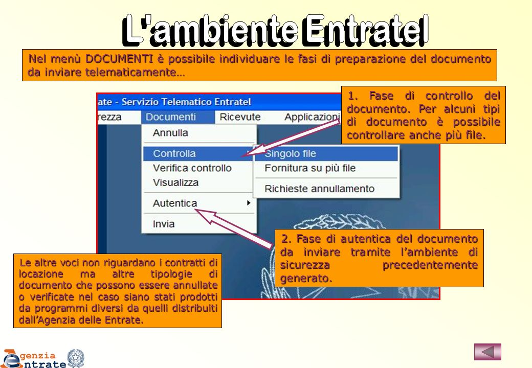 L ambiente Entratel Nel menù DOCUMENTI è possibile individuare le fasi di preparazione del documento da inviare telematicamente…