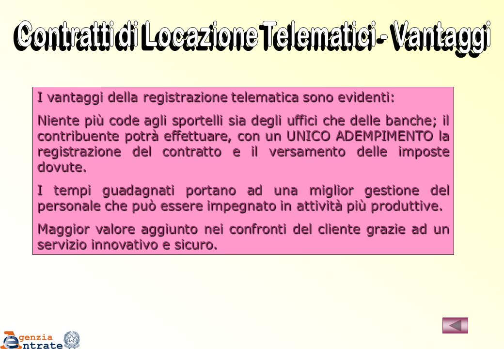 Contratti di Locazione Telematici - Vantaggi