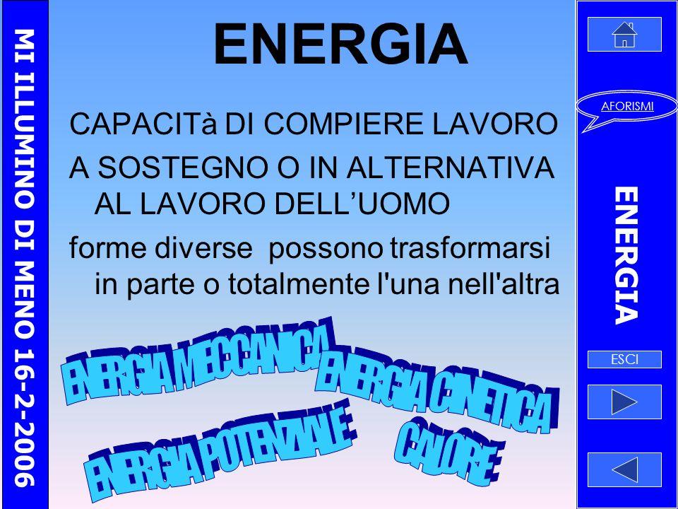 ENERGIA ENERGIA MECCANICA ENERGIA CINETICA ENERGIA POTENZIALE CALORE