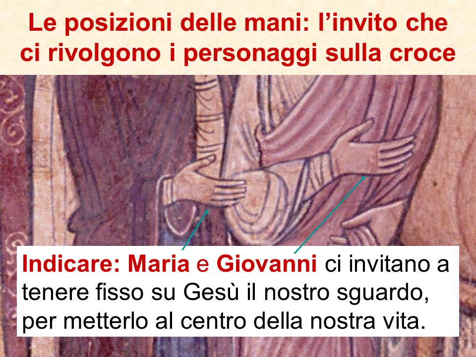 Le posizioni delle mani: l'invito che ci rivolgono i personaggi sulla croce