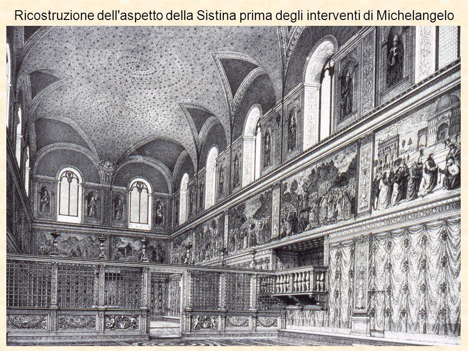 Ricostruzione dell aspetto della Sistina prima degli interventi di Michelangelo