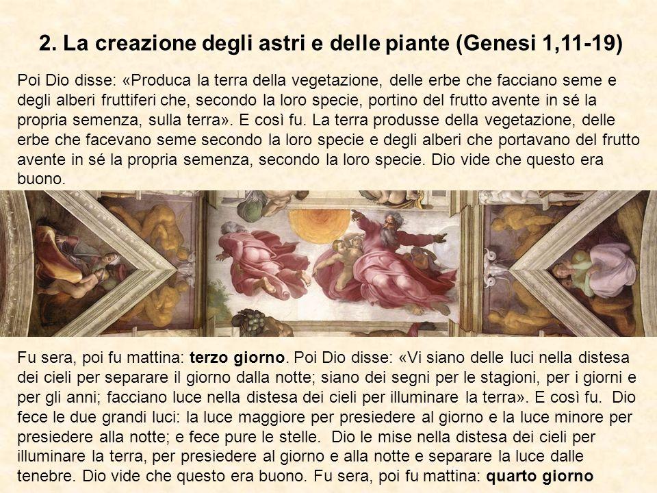 2. La creazione degli astri e delle piante (Genesi 1,11-19)
