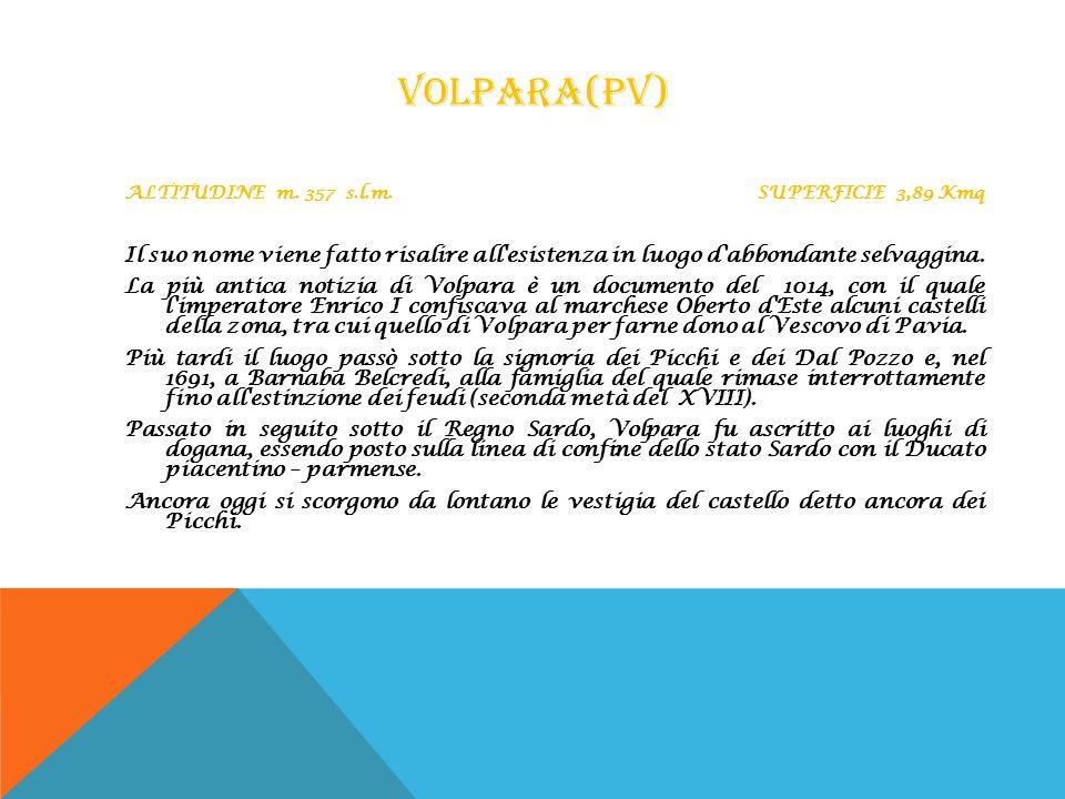 Volpara(PV) ALTITUDINE m. 357 s.l.m. SUPERFICIE 3,89 Kmq.