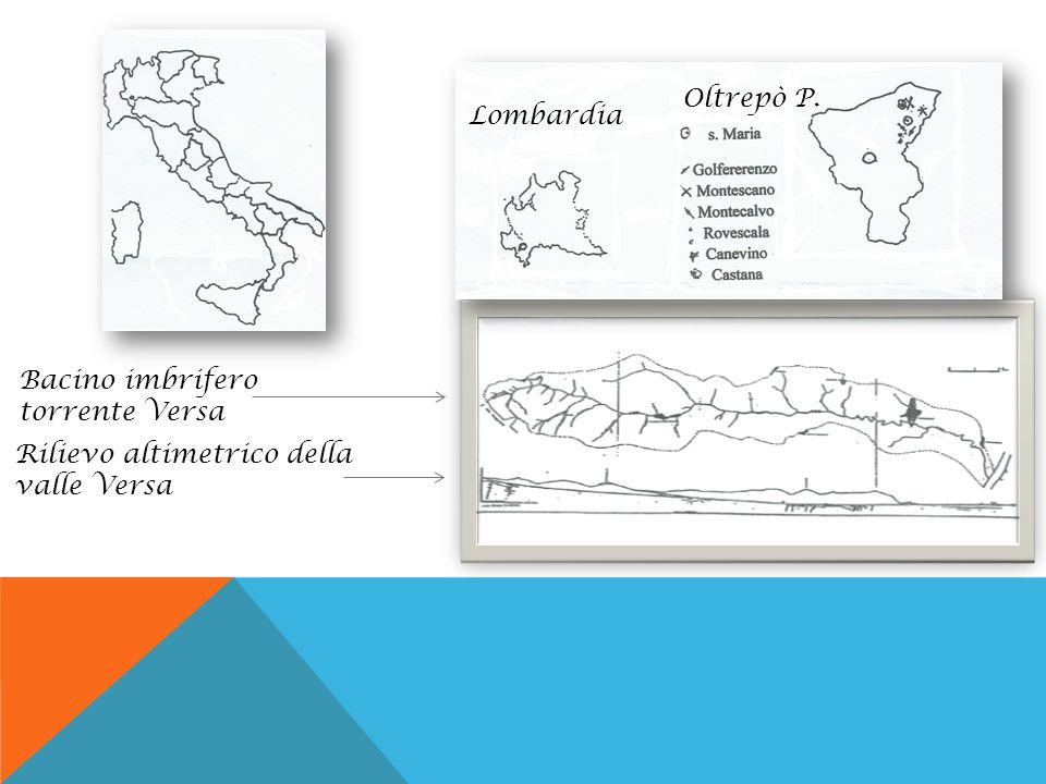 Oltrepò P. Lombardia Bacino imbrifero torrente Versa Rilievo altimetrico della valle Versa