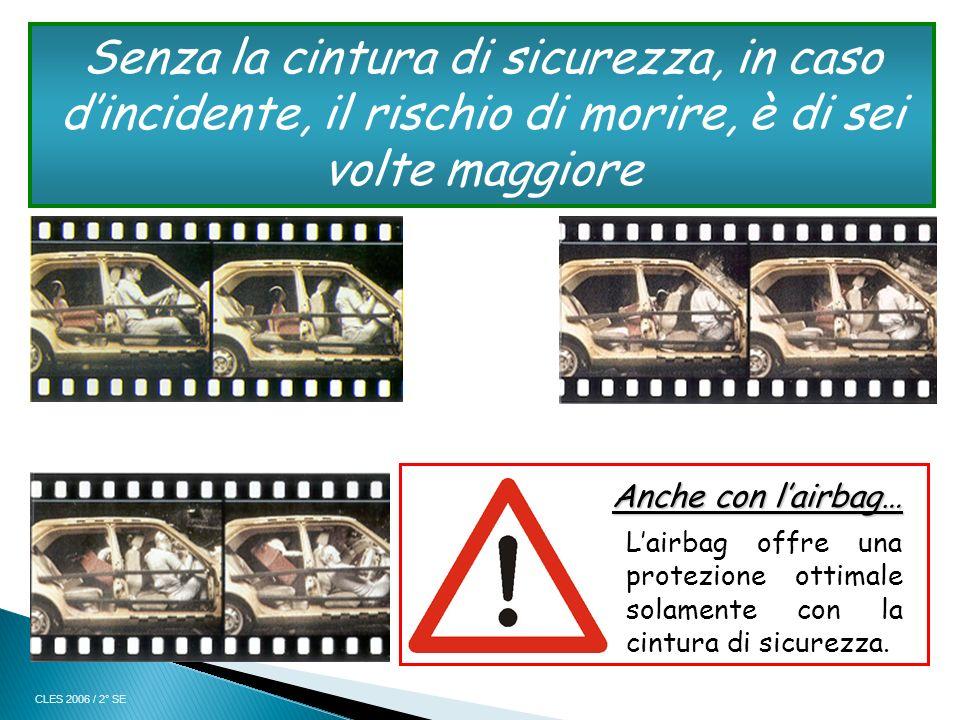 Senza la cintura di sicurezza, in caso d'incidente, il rischio di morire, è di sei volte maggiore