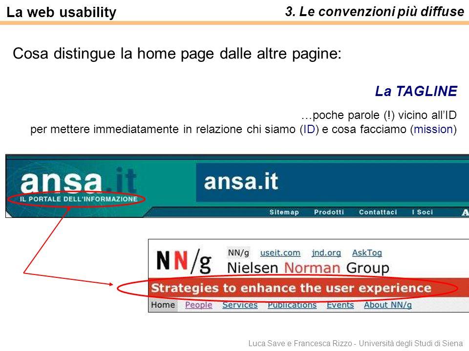 Cosa distingue la home page dalle altre pagine: