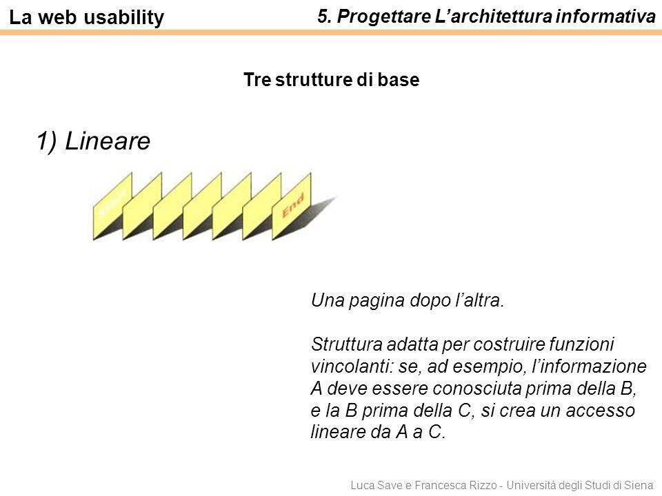 1) Lineare La web usability 5. Progettare L'architettura informativa