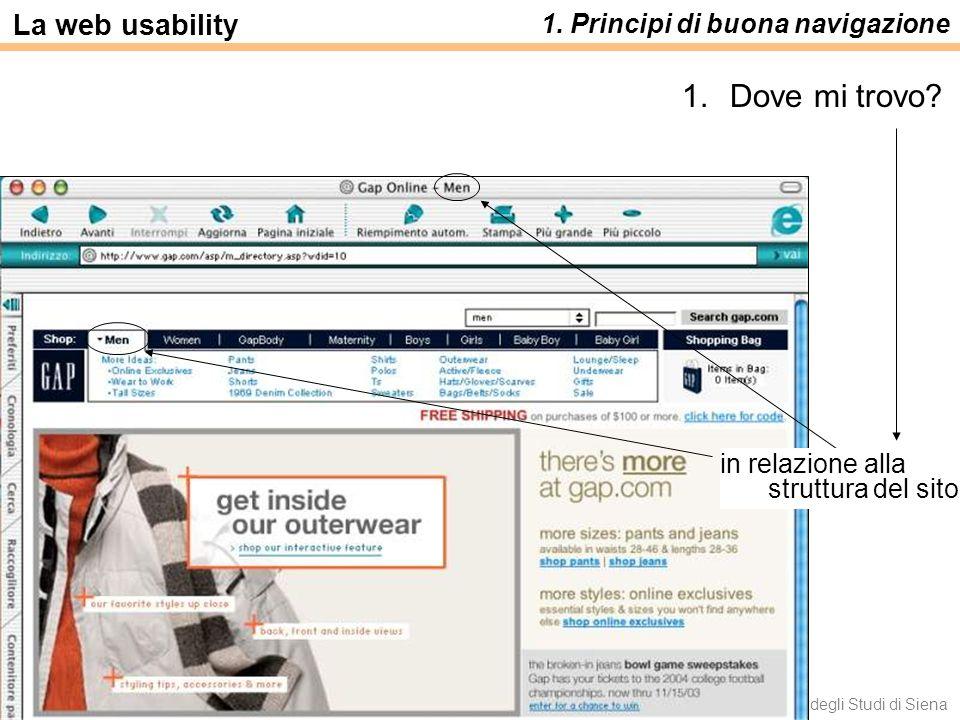 Dove mi trovo La web usability 1. Principi di buona navigazione