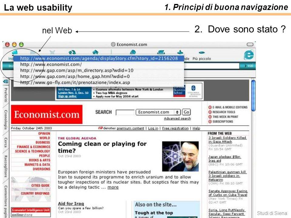 2. Dove sono stato La web usability 1. Principi di buona navigazione