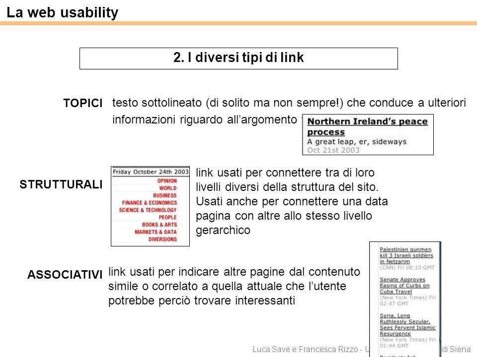 La web usability 2. I diversi tipi di link STRUTTURALI