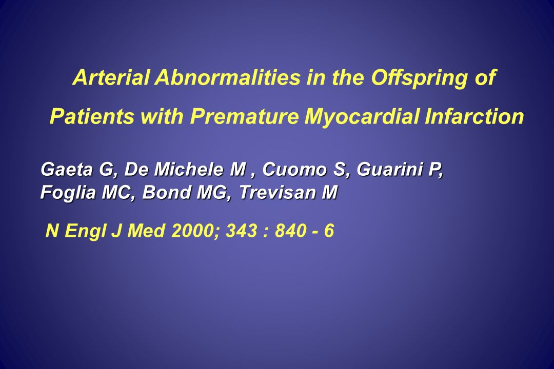 Arterial Abnormalities in the Offspring of