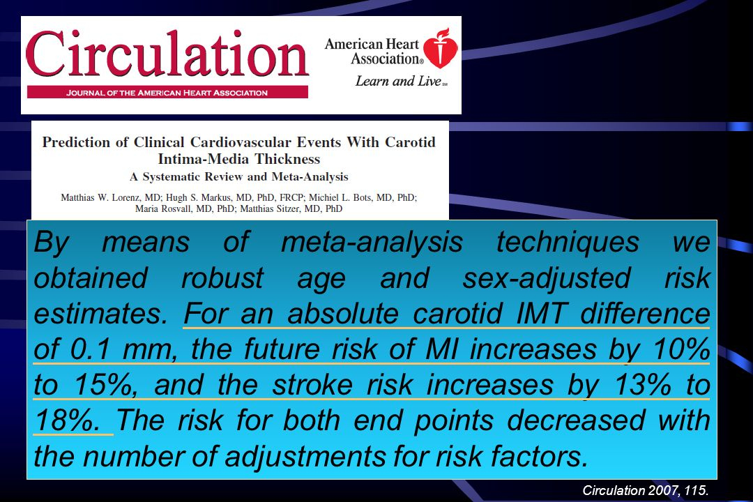 By means of meta-analysis techniques we obtained robust age and sex-adjusted risk estimates. For an absolute carotid IMT difference of 0.1 mm, the future risk of MI increases by 10% to 15%, and the stroke risk increases by 13% to 18%. The risk for both end points decreased with the number of adjustments for risk factors.
