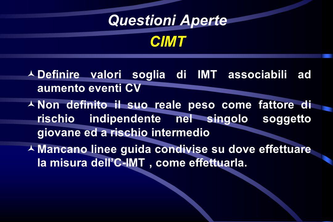 Questioni AperteCIMT. Definire valori soglia di IMT associabili ad aumento eventi CV.