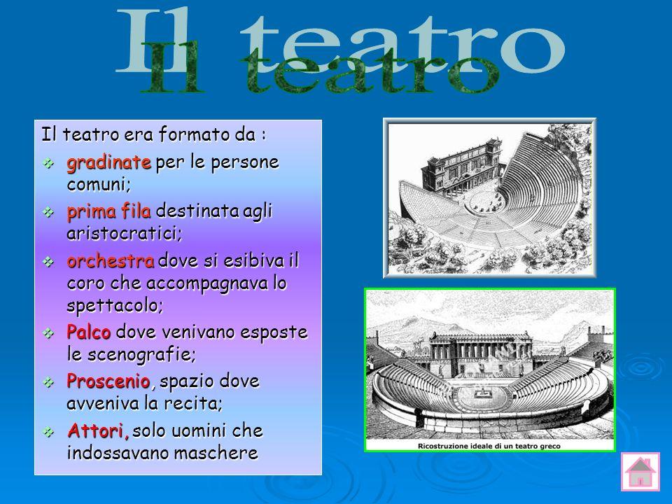 Il teatro Il teatro era formato da : gradinate per le persone comuni;