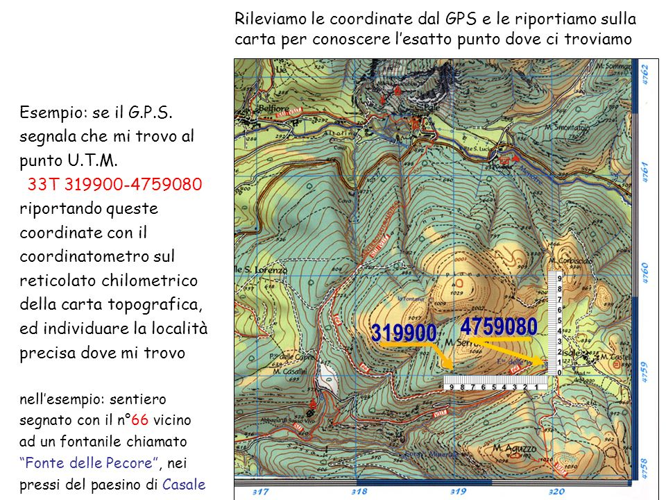 Rileviamo le coordinate dal GPS e le riportiamo sulla carta per conoscere l'esatto punto dove ci troviamo