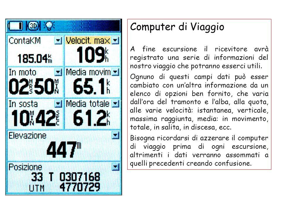 Computer di ViaggioA fine escursione il ricevitore avrà registrato una serie di informazioni del nostro viaggio che potranno esserci utili.