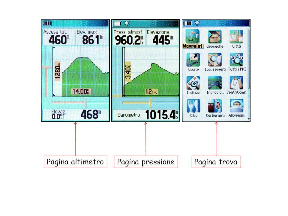 Pagina altimetro Pagina pressione Pagina trova 16
