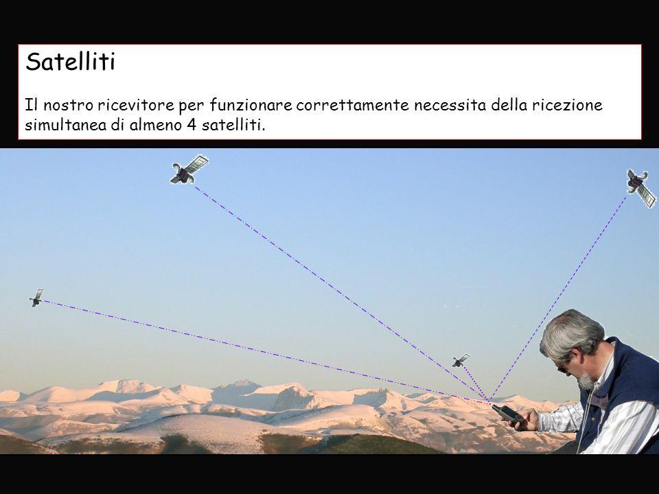 Satelliti Il nostro ricevitore per funzionare correttamente necessita della ricezione simultanea di almeno 4 satelliti.