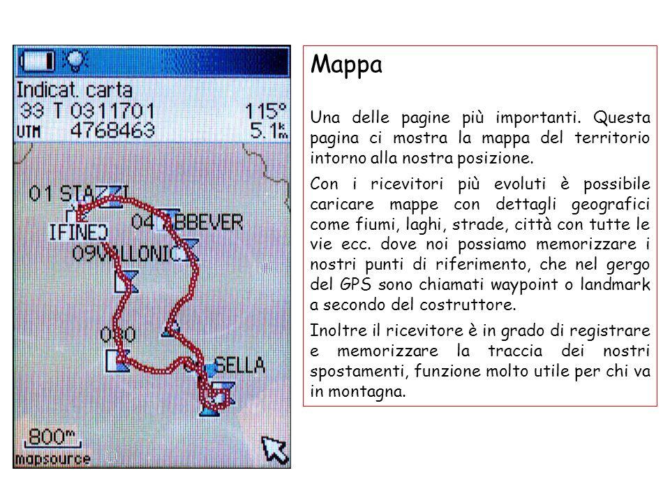 Mappa Una delle pagine più importanti. Questa pagina ci mostra la mappa del territorio intorno alla nostra posizione.