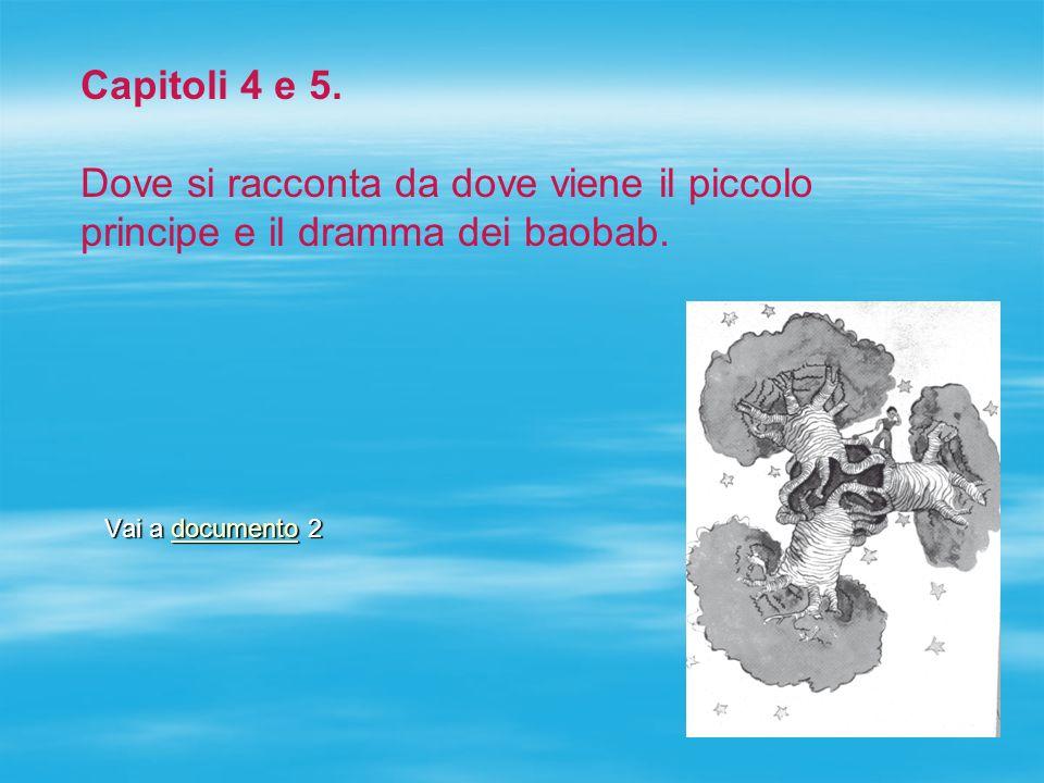 Capitoli 4 e 5. Dove si racconta da dove viene il piccolo principe e il dramma dei baobab.