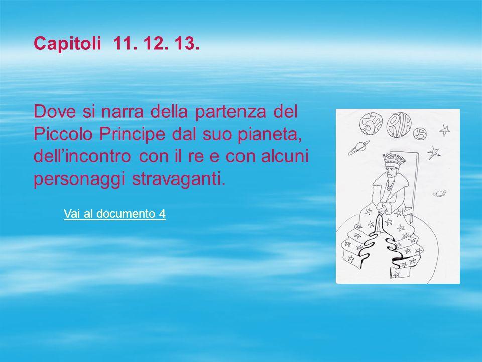 Capitoli 11. 12. 13. Dove si narra della partenza del Piccolo Principe dal suo pianeta, dell'incontro con il re e con alcuni personaggi stravaganti.
