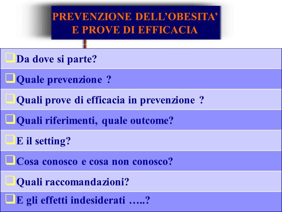PREVENZIONE DELL'OBESITA' E PROVE DI EFFICACIA