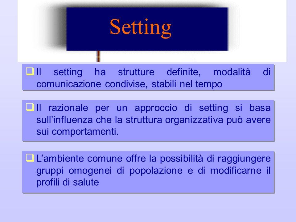 Setting Setting. Il setting ha strutture definite, modalità di comunicazione condivise, stabili nel tempo.