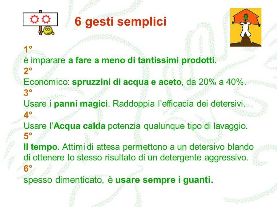 6 gesti semplici 1° è imparare a fare a meno di tantissimi prodotti. 2° Economico: spruzzini di acqua e aceto, da 20% a 40%.