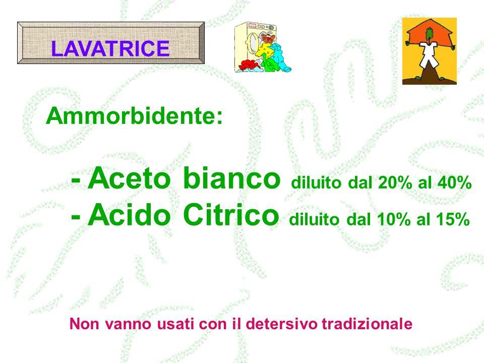 - Aceto bianco diluito dal 20% al 40%