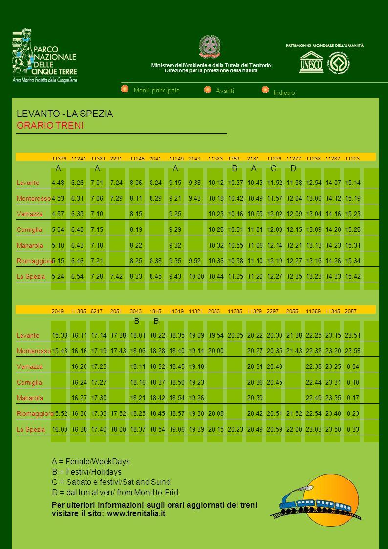 LEVANTO - LA SPEZIA ORARIO TRENI A A A B A C D B B