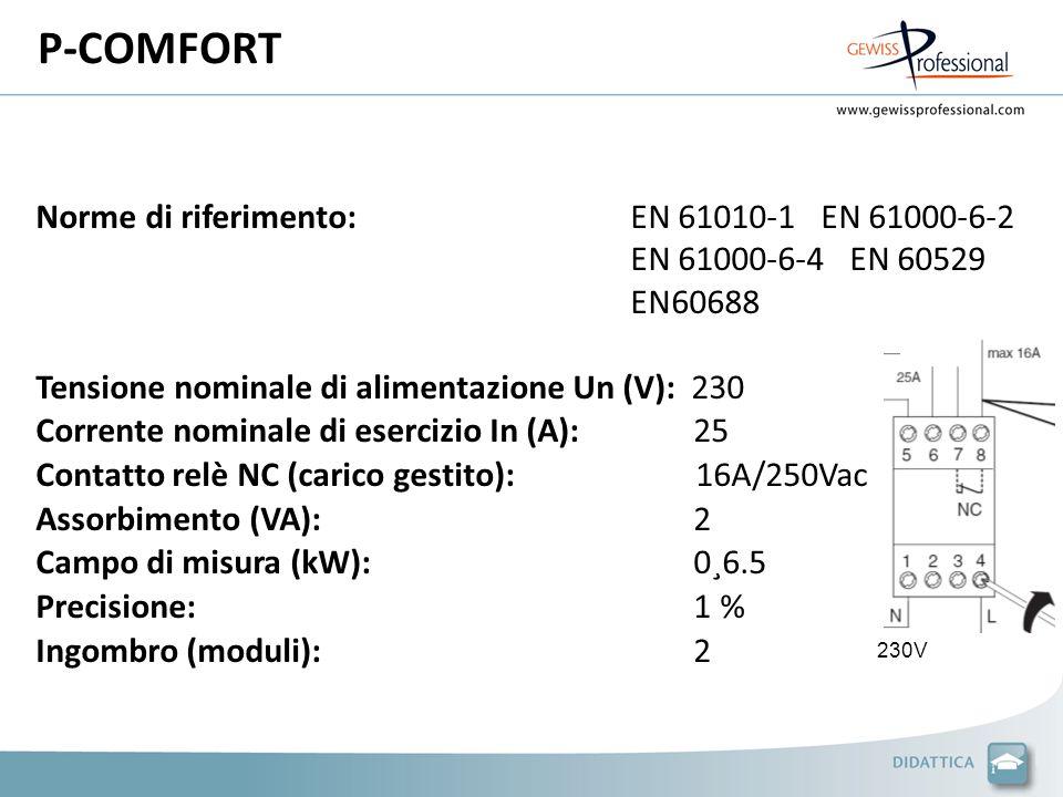 P-COMFORT Norme di riferimento: EN 61010-1 EN 61000-6-2 EN 61000-6-4 EN 60529 EN60688.